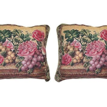 DaDa Bedding Set of Two Romantic Parade Fruit & Roses Cushion Covers w/ Pillow Inserts - 2-PCS - 18""