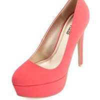 Nubuck Almond Toe Platform Pumps by Charlotte Russe - Teaberry