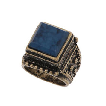 BLUE SQUARE STONE ENGRAVED RING