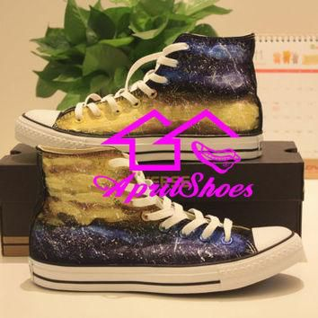 Galaxy Converse, Galaxy Shoes, Amazing Galaxy Design Sneakers, Hand Paint Canvas Shoes
