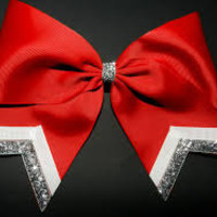 Red Cheer Bow w/ Silver