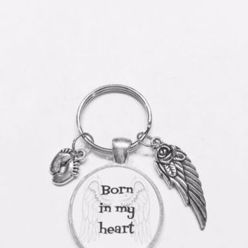 Born In My Heart Guardian Angel Wing Infant Child Loss Miscarriage Keychain
