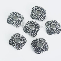 925 sterling silver findings - sterling silver bead caps wholesale - silver beading supplies - solid sterling silver beads -10pcs