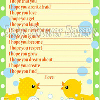 Wishes for Baby, Rubber Duck Baby Shower Game, Rubber Duck Themed Baby Shower Activity, Printable Neutral Wish for Baby Activity