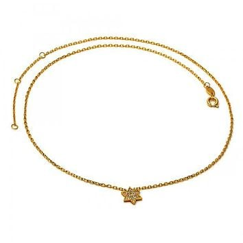 Gold Layered 04.91.0006 Fancy Necklace, Star and Rolo Design, with White Micro Pave, Polished Finish, Golden Tone