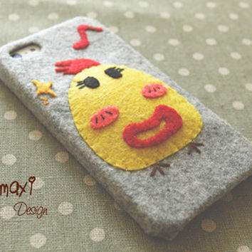 Handmade Cute Felt Fabric Chicken Phone Case, iPhone 4/4S Case, Handmade Cute Stuffed Chicken iPhone 5/5S/5C Case / Nerdy Chicken Phone Case