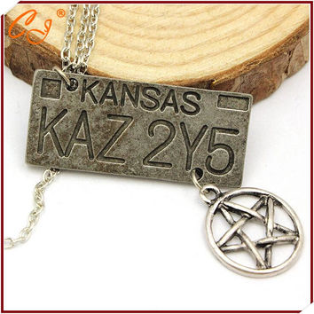 The new Europe and the United States film surrounding accessories supernatural, dean of the license plate pentagram necklace