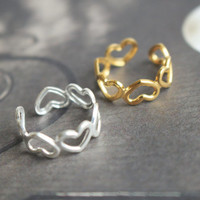 Simple heart ring in Silver 18K Gold