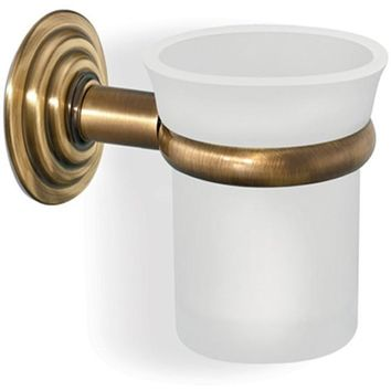SCBA Retro Wall Frosted Glass Toothbrush Toothpaste Holder Bath Tumbler - Brass