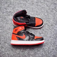 Best Deal Online Nike Air Jordan Retro 1 High Banned Kid Basketball Shoes for Youth Boys and Child