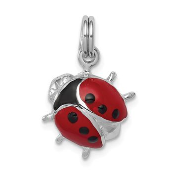 925 Sterling Silver Rhodium-Plated Enamel Ladybug Charm and Pendant