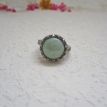 925 sterling silver, vintage ring, green ring, gemstone ring, statement ring, cocktail ring, gala event, ball dance
