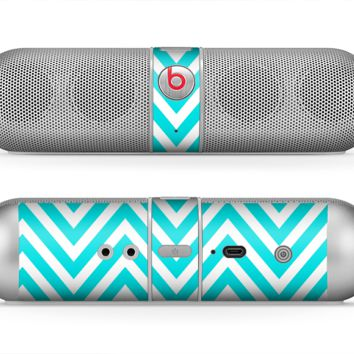 The Trendy Blue Sharp Chevron Pattern Skin for the Beats by Dre Pill Bluetooth Speaker