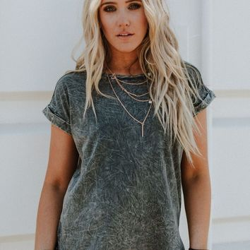 Need You Babe Mineral Washed Tee - Gray