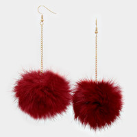 Rabbit Fur Pom Pom Dangle Earrings - Burgundy