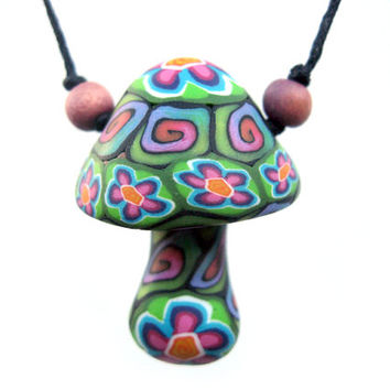 Mushroom pendant, flower power and spiral millefiori patterns, hippie psychadelic mushroom necklace, handmade from polymer clay, OOAK