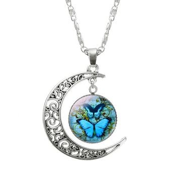 Silver moon butterfly pendant necklaces for women cabochon glass necklace N137