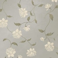 Stencil Peony Allover Floral Pattern Wall by CuttingEdgeStencils