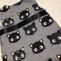 Black Cat Print Short Dress/Long Shirt: fits American Girl and most 18 in dolls