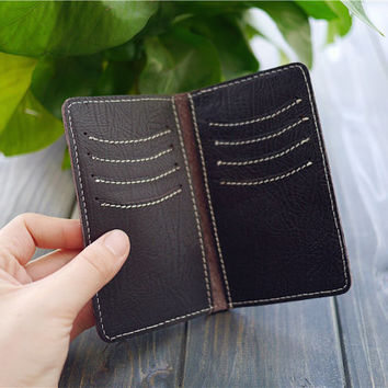 Leather Card Case , Men's Card Case Holder , Slim Leather Card Wallet , Monogrammed Card Case , Custom Card Holder , Gift for him
