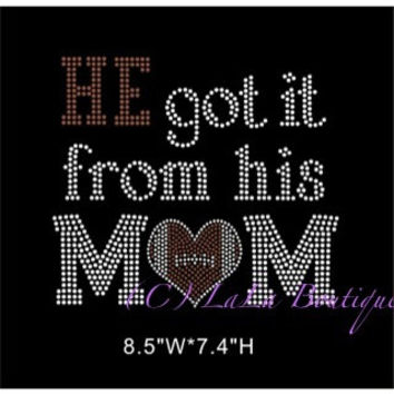 He got it from his mom football iron on hotfix -Rhinestone Transfer Hot Fix Bling -  DIY football mom hotix heat transfer for shirts tees