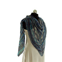 Blue and gray lace triangle shawl.