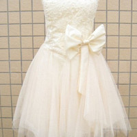Fanscinating Ivory Lace A-line Sweetheart Mini Bowknot Prom Dress  from SinoSpecial