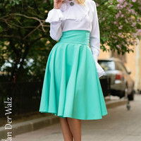 Full skirt with pockets, Mint midi Skirt, Circular skirt, maxi skirt, summer long skirt. Midi Skirt, plus size skirt available