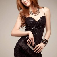 Sexy Spaghetti Strap Backless Sequins Paillette Sparking Club wear Cocktail Party Dress