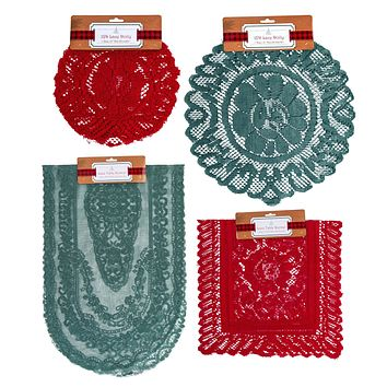 Christmas Lace Doilies & Table Runners - Green/Red - 96 Units