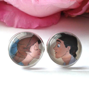 Mermaid Princess & Her Prince Stud Earrings - The Little Mermaid Earrings - Ariel Jewelry - Love Earrings - Princess Ariel - Mermaid