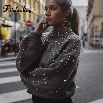 Fitshinling Beading turtleneck women sweaters and pullovers autumn winter knitwear lantern sleeve fashion pullover female