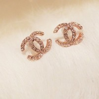Dazzling Gold Plated Rhinestone Earrings