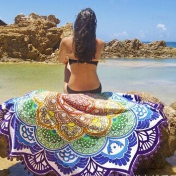 Geometric Printed Beach Towels Mandala Wall Tapestry  Diameter 150cm   11811