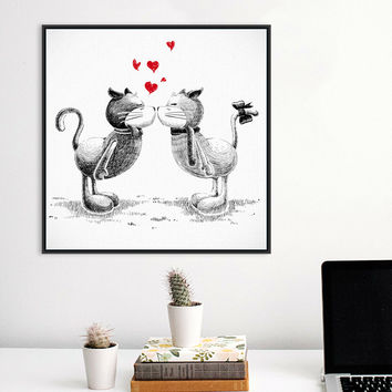 Modern Black White Kawaii Kiss Cats Love Hearts Print Poster Wall Picture Canvas Painting No Frame Wedding Decoration No Frame