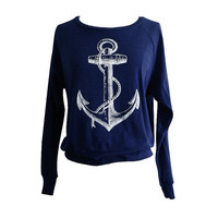 ANCHOR Raglan Sweatshirt - Nautical Sailor Sweater American Apparel SOFT vintage feel - Available in sizes S, M, L