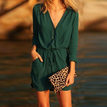 Casual 2018 party dress elegant Women V Neck Green Long Sleeve Party Dress Evening Casual Summer Mini Dress beach girl dresses