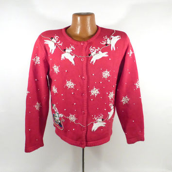 Ugly Christmas Sweater Vintage Cardigan Party Holiday Tacky Size XS