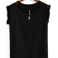 Strappy Neck Raw Hem Sleeve T-shirt - Black