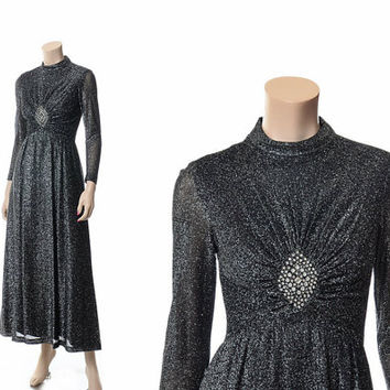Vintage 70s Lurex Black and Silver + Rhinestone Maxi Dress 1970s Metallic Jeweled Cocktail Gown New Years Disco Dress / Small