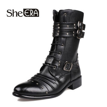 New Fashion Men Boots Pointed Toe Boots British Style Gothic Rivet Buckles Boots High Men Knight Boots