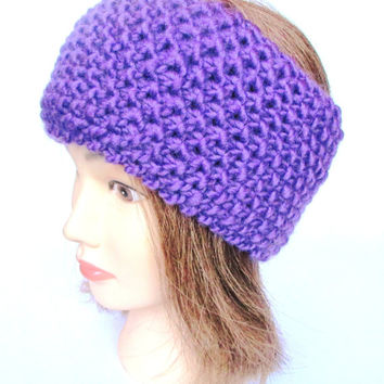 Purple fleece lined knitted headband ski accessory for women wool bright purple headband ear-warmer Irish knitted warm chunky knit headband