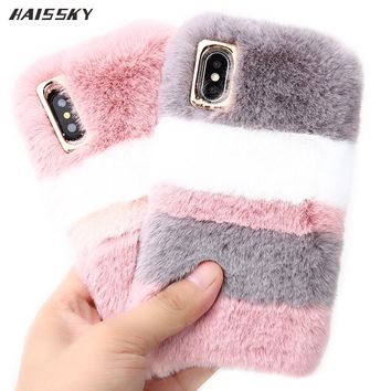 Luxury Warm Rabbit Fur Plush TPU Case For iPhone 6 6s Plus 7 Plus 8 Plus X Case Funny Back Cover Lovely Phone Accessories Case