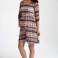 Ivory Multi-Color Printed Chiffon Belted 3/4 Sleeve Maternity Dress