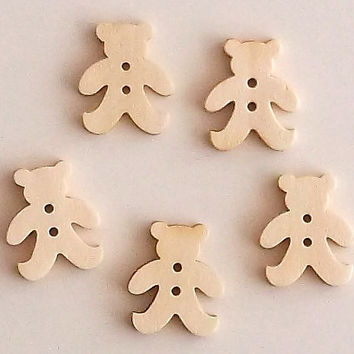 Set of 5 Bear Wooden Buttons, Approx 2 cm Diameter, Lasercut