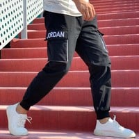 """""""Jordan"""" Unisex Casual Personality Letter Print Pocket Sweatpants Couple Thickened Leisure Pants Trousers"""