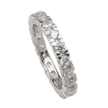 Plutus Brands 925 Sterling Silver Eternity Wedding Band 1 Carat Weight- Size 8