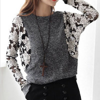 LACE ROUND NECK LONG-SLEEVED T-SHIRT BAT