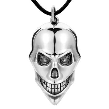 925 sterling silver fashion real dainty skull necklace pendant oxidation black charm christmas party gifts jewelry long chain for men