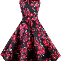 Atomic Black Closed Rose Dress